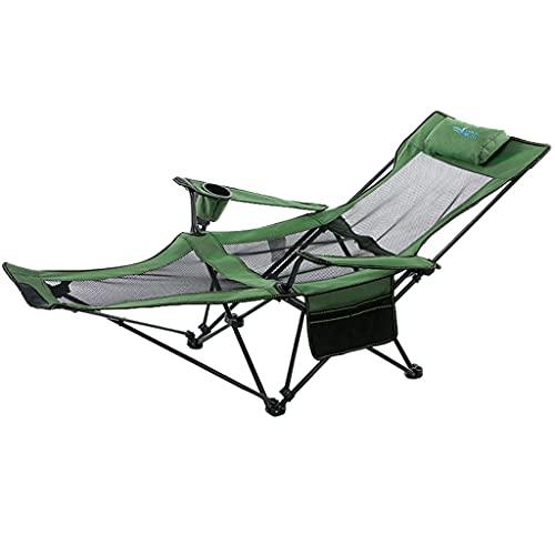 FGJKKRMI 2 in 1folding Campingplatz für Erwachsene - Hochleistungs-tragbare Rasenstühle unterstützen 300 lbs Außenarmstuhl mit Becherhalterkissen und Tragetasche, Maschenmaterial (90 ° - 165 °)