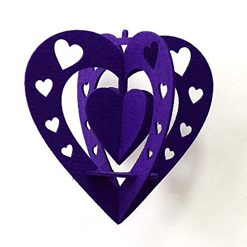Home Decor LGMIN Classroom Decoration Non-woven Heart Three-dimensional Wicker Pendant, Size: 15cm (Pink) (Color : Purple)