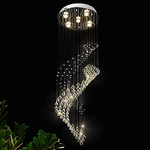Sygjal Silver Led Crystal Hanging Line Lamp Creative Round Simple Spiral Double Staircase Living Room Long Chandelier 400 * 1200