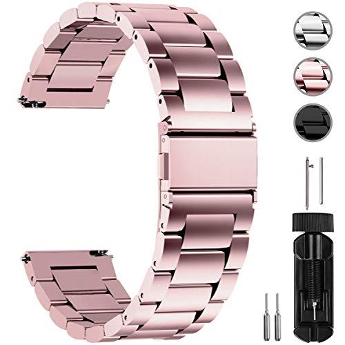 Fullmosa Edelstahlarmband für Uhr,Metall Uhrenarmbänder mit Schnellverschluss geeignet für Damen&Herren, 20mm Rosépink