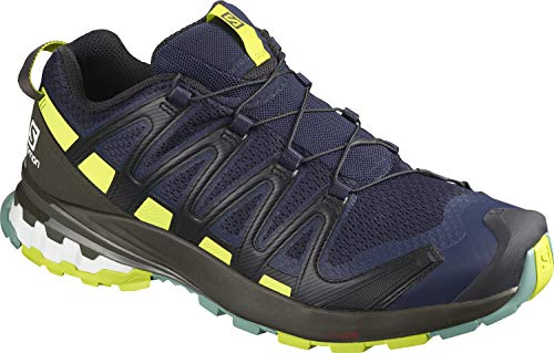 Salomon Herren XA PRO 3D V8, Leichte Schuhe für Trail Running und Wandern, Blau (Navy Blazer/Beluga/Lime Punch),42 EU