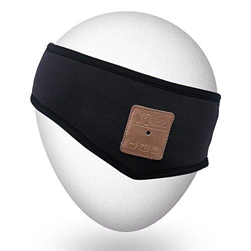 Qshell ligero deportivo auriculares bluetooth cabeza auriculares lavable headwear con altavoces y micrófono manos libres para correr jogging esquí patinaje senderismo, regalos de Navidad - negro