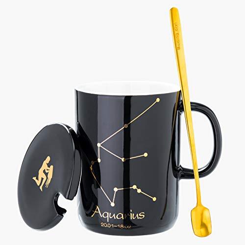 HRDZ Creativo Doce Constelaciones Taza de cerámica con Tapa Cuchara Taza Personalidad Taza de Agua Pareja Taza de café Taza de té de Oficina