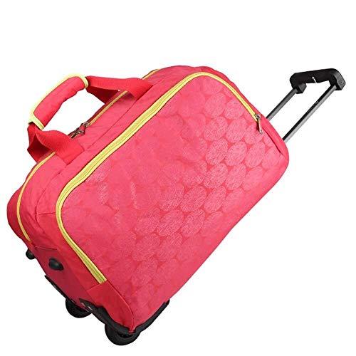 GQY Carro de Tela - montañismo Bolsa de Equipaje Mochila Bolsa Impermeable - Goma de la Rueda de Silencio (Color : Red, Size : 53.5 * 37 * 36cm)