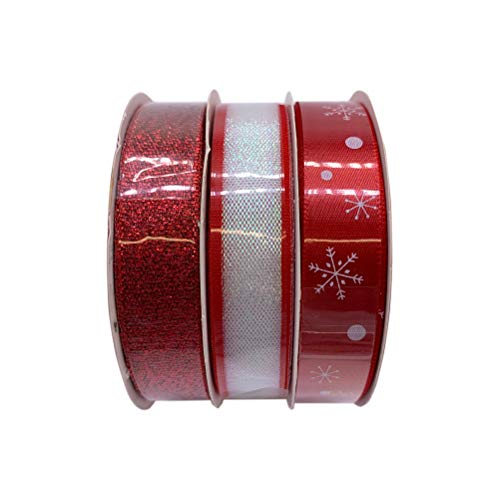 Schone Products (UK) - Set di decorazioni natalizie con nastro rosso da 3 x 3 m, motivo Mutli, confezione regalo per albero di Natale, decorazione riflettente, con glitter luccicanti