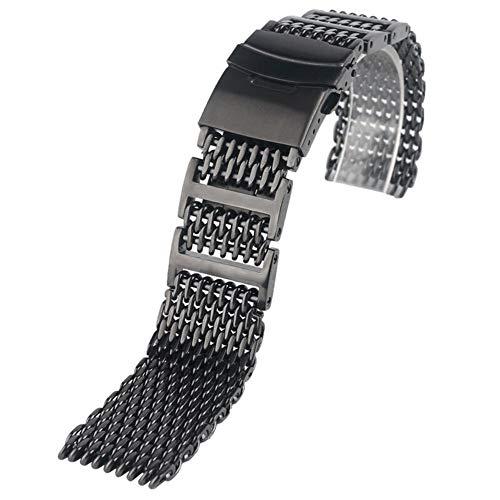 YWSZY Reemplazo Pulsera 20mm 22mm 24mm For Hombre Reloj De Acero Inoxidable Banda De Malla Correa For La Muñeca De Lujo del Botón Pulsador Negro Correa de Reloj (Band Width : 20mm)