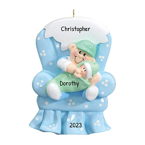Personalized Big Brother Chair Christmas Tree Ornament 2019 - Lovely Toddler Carry Little Sibling First New Small Sister Family Care Memory Best 1st - Free Customization (Blue)