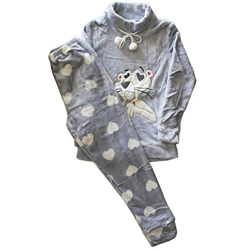 FERETI S Pijamas Invierno Mujer Azul Pink Panther Pantera Rosa Polar Corazones Cuello Alto Grueso