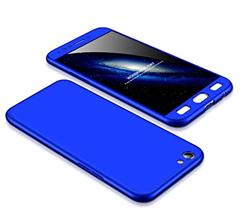 MEVIS Oppo F3 Plus Hülle,360 Grad hülle Fullbody case+(1*Hartglas Glasfilm Schutzfolie) 3 in 1 Ultra dünner pc Hardcase Scratch & Shockproof-Blau