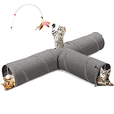 Ownpets Cat Tunnel, 3 Way Collapsible Kitty Tunnel Cat Tube with Plush Ball & Feather Toy, Large Cat Play Tunnel for Indoor Cat, Kitten, Puppy, Rabbit,and Mongoose from Ownpets