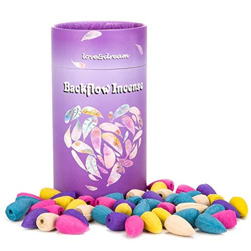 Backflow Incense Cones 80 Pcs of 100% Natural Jasmine - Sandalwood-Rose-Ocean-Lavender for a Meditation & Yoga Gift