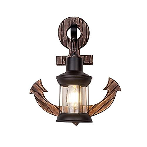 Lámpara de pared, interruptor de cable de hierro forjado, lámpara de noche retro pintada en negro, adecuada para dormitorio y sala de estar.Tamaño 38 * 32 cm