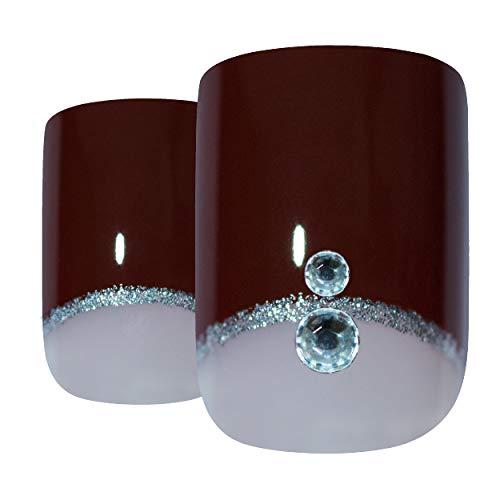 Art bling faux ongles manucure française cristal rouge marron moyen Conseils UK