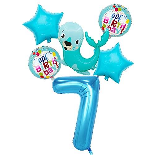 JSJJAWD balloon 1 set Aluminum Foil Balloon Cartoon Underwater Animal Sea lion Happy Birthday Kid Party Decoration Baby Shower Toy (Color : 7)