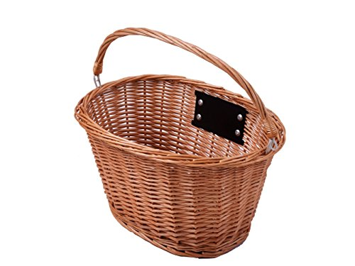 Ammaco OVAL FRONT WICKER BIKE SHOPPING BASKET RETRO VINTAGE CARRY HANDLE QUICK RELEASE BRACKET