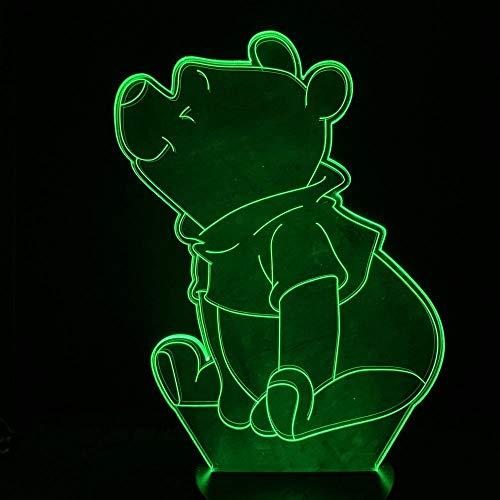 Netter Winnie the Pooh führte Illusionstischlampe des Nachtlichtes LED der Kinder 3D 7 Farben Notenfernsteuerungsschalter USB trieb Nachttischlampe Kindweihnachtsgeburtstagsgeschenk an