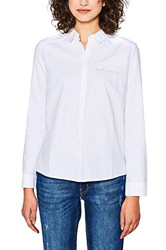 edc by ESPRIT Damen 018CC1F013 Bluse, Weiß (White 100), Medium