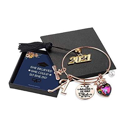 Yoosteel 2021 Graduation Gifts Charm Bracelets, Rose Gold Graduation Bracelets Quote Inspirational Bracelet College Graduation Gifts for Him Her 2021 High School