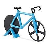 Relaxdays Roulette à pizza vélo découpe-pizza avec support coupe pâte Fixie...