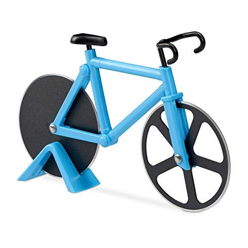 Relaxdays Fahrrad Pizzaschneider, lustiger Pizzaroller mit Schneiderädern aus Edelstahl, Cutter für Pizza & Teig, blau