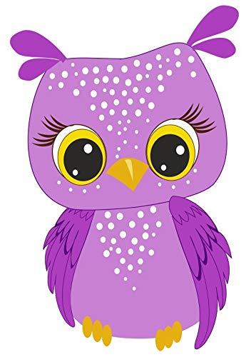 Samunshi® Lila Eule Aufkleber Sticker Autoaufkleber Scheibenaufkleber in 8 Größen (5,3x8cm Mehrfarbig)