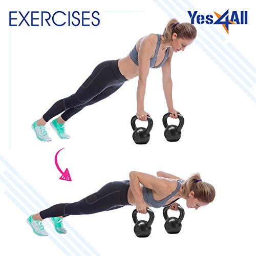 Yes4All KYN8 Solid Cast Iron Kettlebell Weights Set – Great for Full Body Workout and Strength Training – Kettlebell 50 lbs (Black)