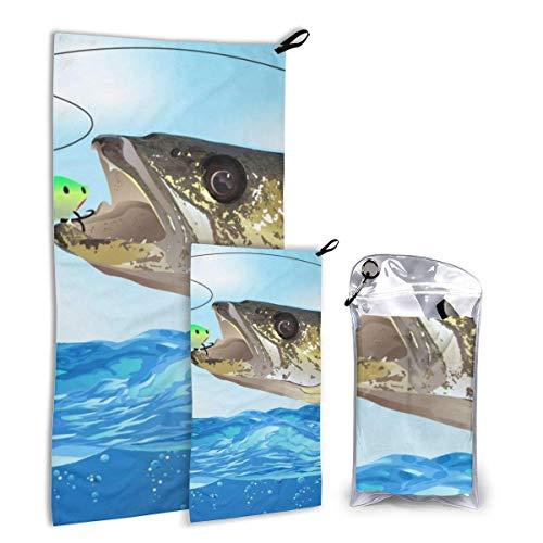 Lawenp Toalla de Secado rápido Walleye Fish Take The Bait para Gimnasio en casa, Playa, Deportes, Camping y Viajes, 2 en 1 Mano más pequeña