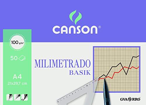 Guarro Canson 200402861 Cahier 50 feuilles papier millimétré A4 90 g