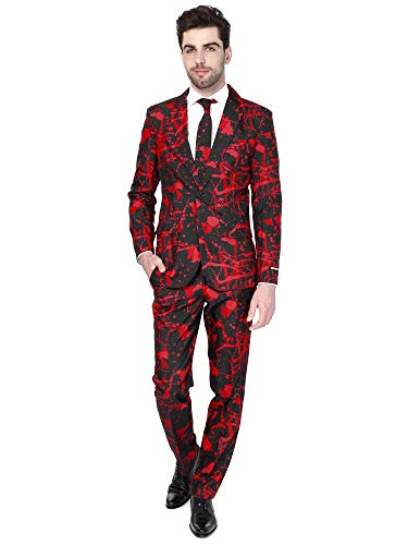 Suitmeister – Black Blood – Halloween Costume For Men In Stylish Print – Full Set: Includes Jacket, Pants and Tie – XL