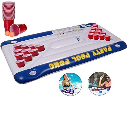 Opblaasbare Air Mattress Bed Bier Pong Game Zwembad Tafel Zwembad Water Drijvend Drinkende Lilo Ligstoel Mat met 20 Bekers & 2 Pong Ballen