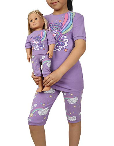 HDE Girls Pajamas - Pajama Set with for Girl with Matching Doll Outfit - 100% Cotton, Breathable Kids PJ Sets with Cute Unicorn Design - Doll Pyjamas Fit American Girl & 18 Dolls