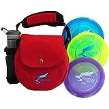 Kestrel Discs Golf Pro Set | Paquete de 3 discos + bolsa roja | Juego de golf de disco | Incluye controlador de distancia, rango medio y putter | Bolsa de golf de disco pequeño (rojo)