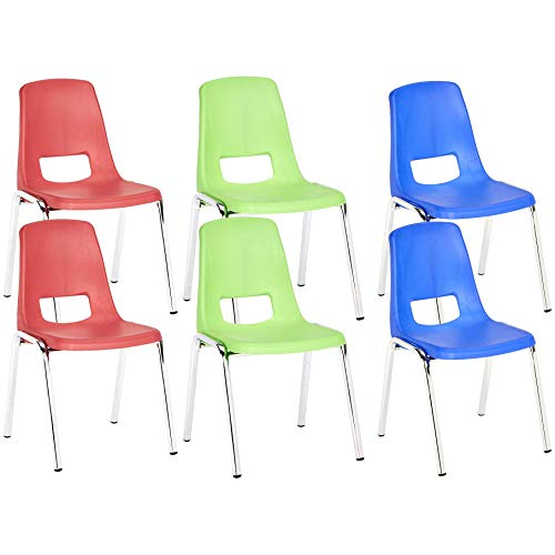 AmazonBasics 14 Inch School Classroom Stack Chair, Chrome Legs, Assorted Colors, 6-Pack