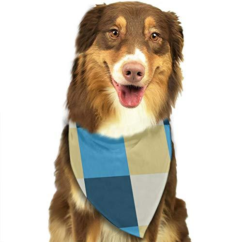 iuitt7rtree blau-cremefarbener Schachbrett-Hintergrund, Taschentücher, Schals, Dreiecks-Lätzchen, Zubehör für kleine, mittelgroße und große Hunde, Welpen und Haustiere