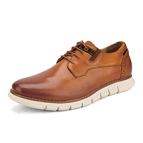Bruno Marc Men's Oxford Dress Sneakers Business Casual Leather Dress Shoes Purpose-2 Brown Size 10 M US