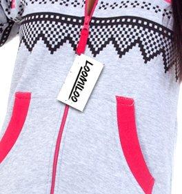 Loomiloo® Jumpsuit Onesie Overall als Freizeitanzug Hausanzug Trainingsanzug Pyjama für Damen und Herren (M/L, Hellgrau) - 4