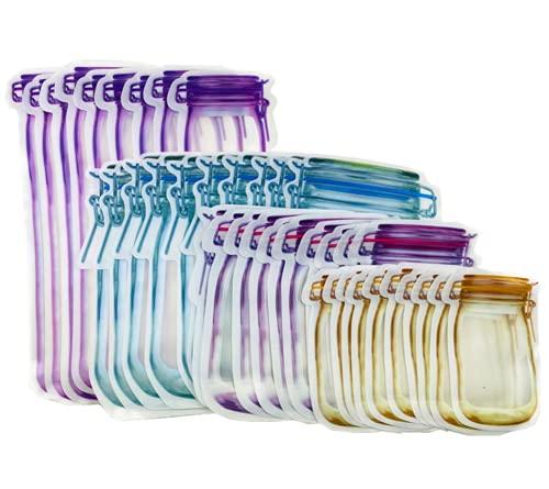 mianyang 40 bolsas con cremallera para tarros de conservas, bolsas de almacenamiento para alimentos, bolsas reutilizables para hornear galletas y caramelos.