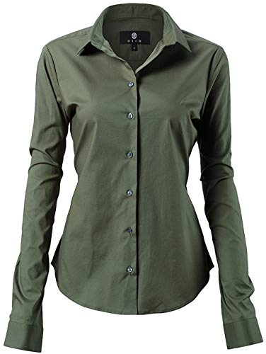 INFLATION Damen Hemd mit Knöpfen Baumwolle Bluse Langarmshirt Figurbetonte Hemdbluse Business Oberteil Arbeithemden Armeegrün 40/14