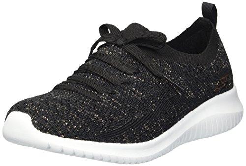 Skechers Sport Women's Ultra Flex Salutations Sneaker,black/gold,6 M US (Apparel)