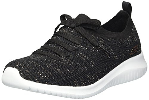 Skechers Women's ULTRA FLEX-SALUTATIONS Trainers, Black (Black Gold Bkgd), 8 UK 41 EU