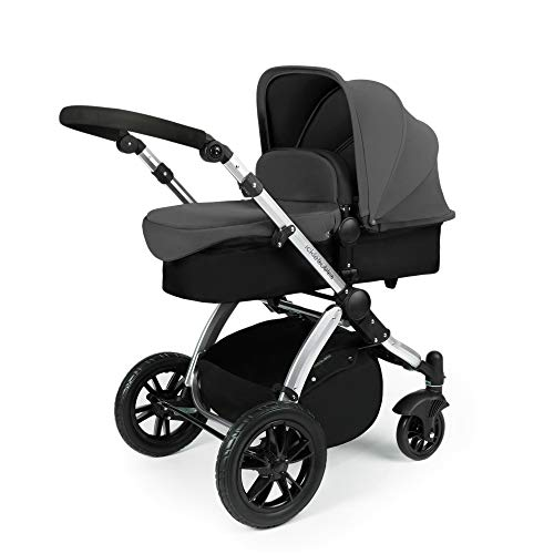 Ickle Bubba Stomp V2 All in One Travel System   Bundle Includes Carrycot, Pushchair, Car Seat, Accessories   Graphite Grey on Silver Chassis