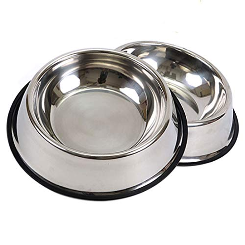 Set of 2 Stainless Steel Dog Bowl with Rubber Base, Lehosek Pets Feeding Bowl and Water Bowl for Dogs and Cats (L)