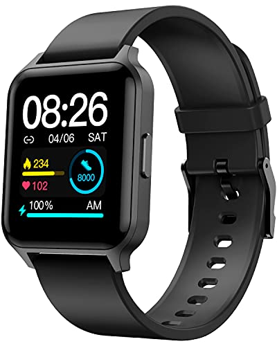 Deeprio Smart Watch for Android iOS Phones, 1.52' HD Screen Personalized Watch Faces Blood Oxygen Heart Rate Sleep Monitor IP68 Waterproof Fitness Tracker, Smartwatches for Men Women Black,Vidaa