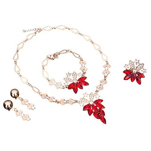 PRETYZOOM 4 Piezas Vestido de Novia Collar Pulsera Anillo Pendientes Conjunto Rojo Barroco Cristal Mujeres Boda Conjunto de Joyas para Novia Traje de Boda