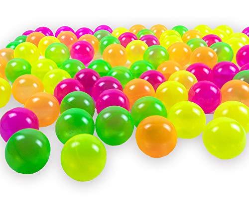 100 Bälle 8 cm Neon- Mix Bälle für Kinder Bällebad Babybälle Plastikbälle Ballpool ohne gefährliche Weichmacher