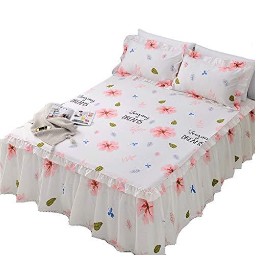 XXT Modestars Bettlaken, Bettwäsche Doppel, Blatt, Bett Rock-Art Bettdecke Einzelstück Sommer 1.5m1.8 Spitze Schutz Staubschutz Cotton Bed Slip Cover (pink) Textil (Color : C, Size : 180 * 220cm)