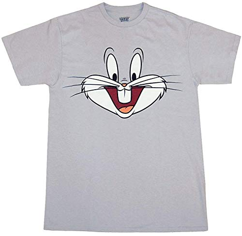 Looney Tunes Character Face T-Shirt (Bugs Bunny, Grey, Large)