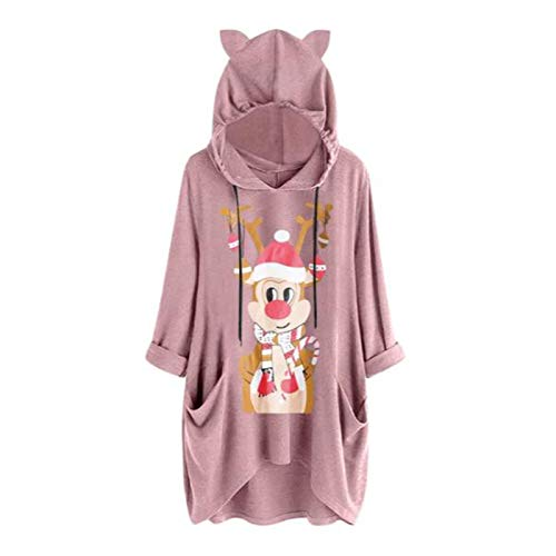 Dosoop Womens Christmas Hoodie Sweatshirts Casual Tunic Tops Hooded Long Sleeve Xmas Reindeer Print T Shirts with Pockets