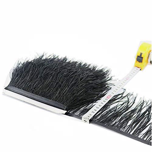 Bene Omnia - Plumas de avestruz con flecos, esponjosas, para hacer tocados y manualidades, 36 colores, paquete de 1 metro negro
