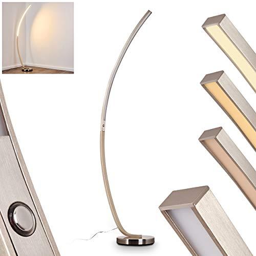 LED-vloerlamp Kimbolton, dimbare metalen vloerlamp in mat nikkel, 20 Watt, 1000 Lumen, lichtkleur 3000 Kelvin (warm wit), booglamp met traploze tastdimmer op de behuizing
